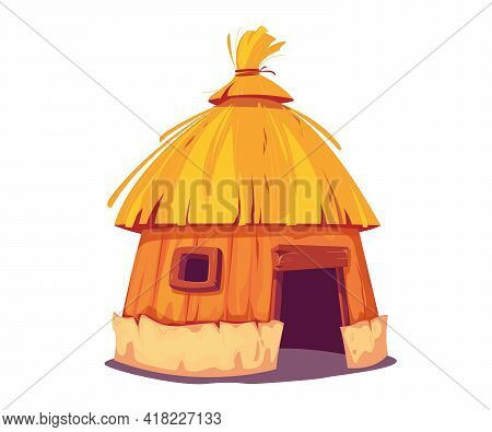 Bungalow With Thatched Roof Fun. The Hut Is A Traditional Home For The Inhabitants Of The Islands An