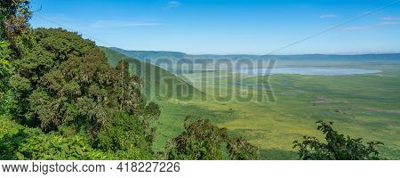 View Over Ngorongoro Conservation Area. Ngorongoro Crater Is A Large Volcanic Caldera And A Wildlife