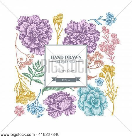 Square Floral Design With Pastel Wax Flower, Forget Me Not Flower, Tansy, Ardisia, Brassica, Decorat