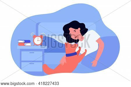 Dog Waking Owner Up In Morning. Woman Stroking Pet, Alarm Clock Buzzing On Bedside Table Flat Vector