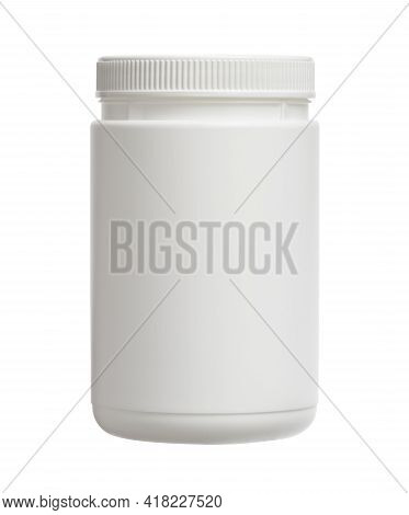 Plastic Jar Cylinder Shape (with Clipping Path) Isolated On White Background