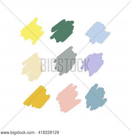 Paint Strokes Pastel Colors Set. Colorful Palette