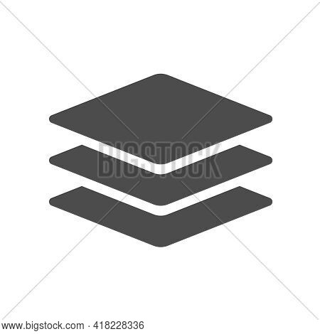 Layers Vector Icon Isolated On White. Layers Silhouette Icon Sign For Web, Mobile Apps, Ui Design An