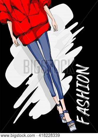 Beautiful Young Woman's Legs In Spring Coat. Hand Drawn Fashion Girl. Fashion Model Posing. Sketch.