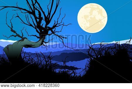 Lonely Tree On Moonlight Night. Landscape With Full Moon In Starry Sky