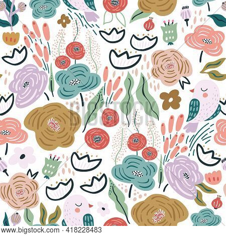 Seamless Pattern With Flowers, Birds, Berries And Leaves. Creative Floral Texture. Great For Fabric,