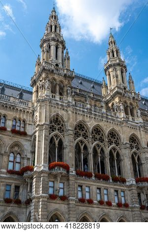 Detail Of The Beautiful Vienna City Hall In Austria