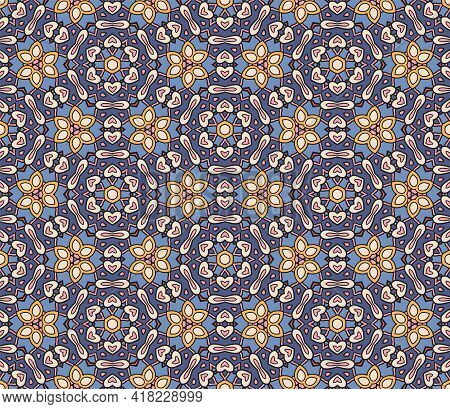 Cute Abstract Doodle Floral Tile Seamless Pattern