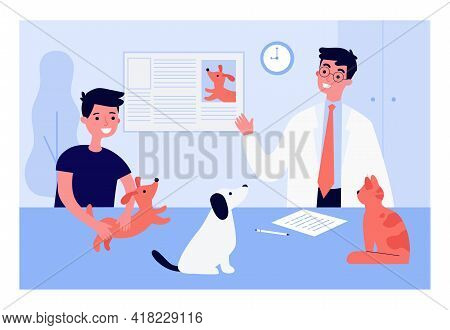 Veterinarian Giving Boy Information About Pets. Male Doctor, Child Holding Dog, Animals On Table Fla