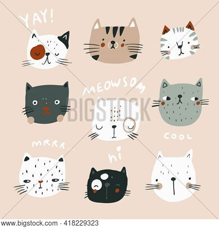 Set Of Cute Cartoon Cats Heads And Lettering Quotes. Ready.print For Nursery,apparel,cards. Vector I