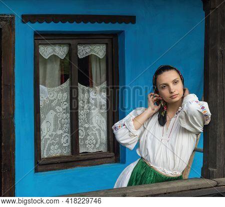 Salaj, Transylvania, Romania-may 14, 2018: Beautiful Young Girl In Traditional Romanian Folk Costume