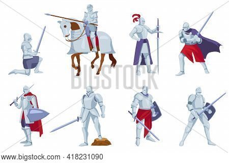 Set Of Armored Knights With Weapons In Different Angles, Poses. Cartoon Vector Illustration. Medieva