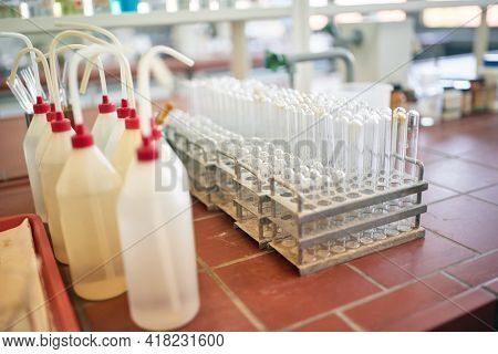 Laboratory equipment neatly stacked in a sterile laboratory environment. Chemistry, lab, apparatus