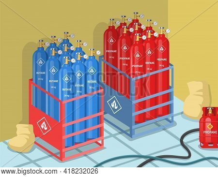 Cylinders With Propane And Butane On Factory Vector Illustration. Balloons With Dangerous Gas Or Fue