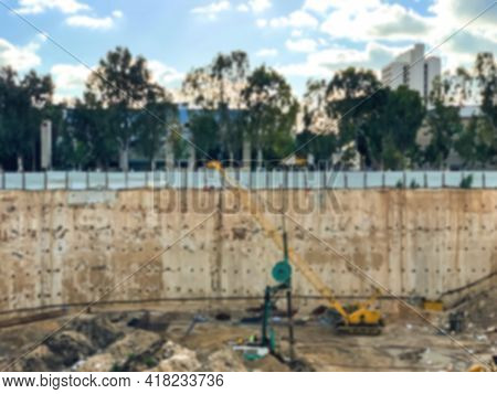 Pit For The Construction Of A Multistory Building, Reinforced With The Wall In The Ground Method. Dr