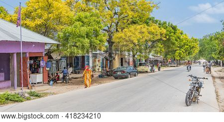 Zanzibar, Tanzania - February 8. 2020: Street View From The Main Road With People In The Fishing Vil