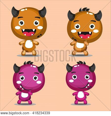 Cute Little Monsters Cartoon Vector Character. Colorful Set Of Cute Monsters