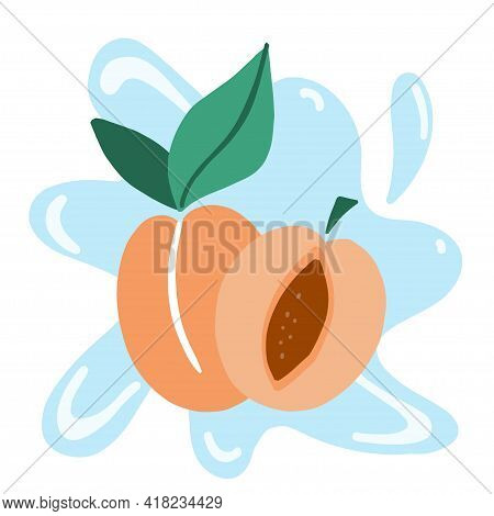 Apricot. Exotic Tropical Peaches Or Apricots Fresh Fruit. Whole And Half Juicy Peach On Blue Backgro