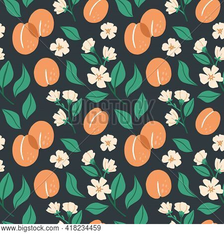 Apricot Seamless Pattern. Exotic Tropical Peaches Fresh Fruit On Black Background. Whole Juicy Peach