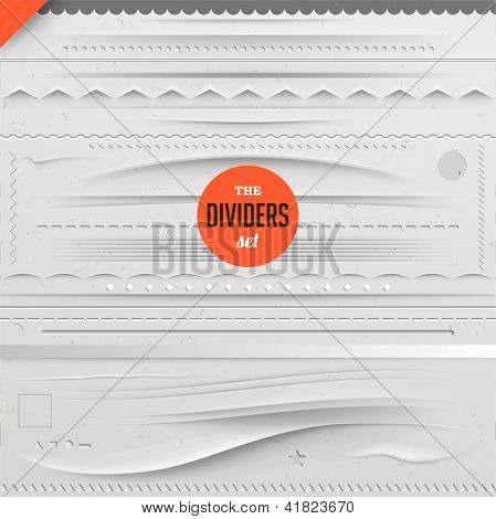 Big set of vector dividers for web design with seamless paper background, eps 10 poster