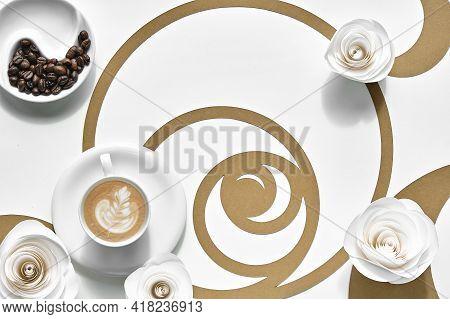 Coffee Cups, Fibonacci Sequence Circles. Espresso, Tasty Perfection. Golden Ratio Concept, Paper Flo