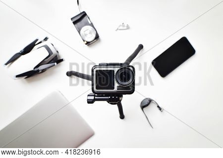 Usa, 15th June: Flat Lay Holiday Lightweight Gadget Travel Set Up Isolated On White Table Background