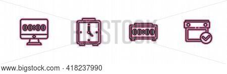 Set Line Clock On Monitor, Digital Alarm Clock, Alarm And Calendar With Check Mark Icon. Vector