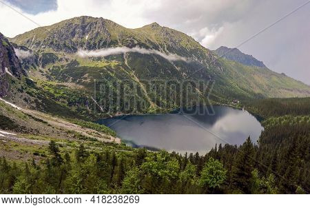 Wide Angle Top View Of Morskie Oko Naturally Formed Lake Pond In Tatra Mountains In Poland. High Mou