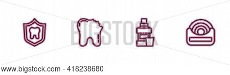 Set Line Dental Protection, Mouthwash Bottle, Broken Tooth And Floss Icon. Vector