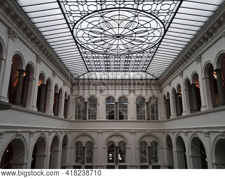 Wroclaw, Poland - December 29, 2017: Wroclaw National Museum ,interior View Of The White Neoclassica