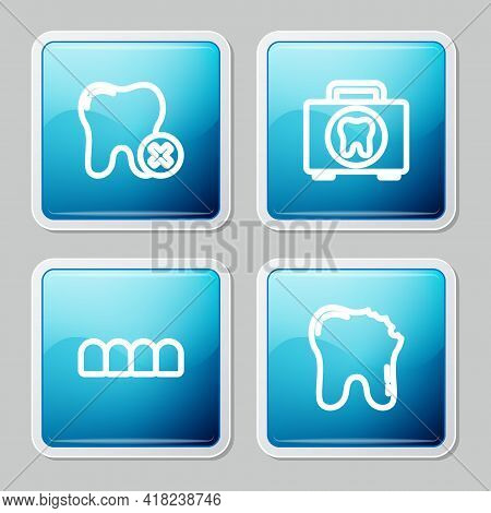 Set Line Tooth With Caries, First Aid Kit, Dentures Model And Broken Tooth Icon. Vector