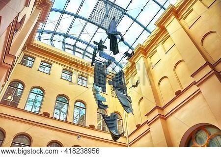 Riga, Latvia - August 28, 2018: Art Object Gondola At The Art Museum Riga Bourse