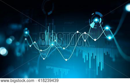 Virtual Stock Market Lines And Financial Charts Over Dark Background. Digital Screen. Concept Of Fin