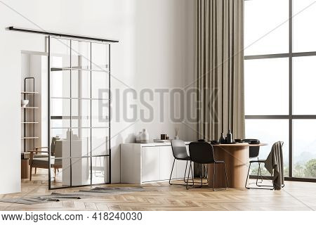 Light Living Room Interior With Four Chairs With Dishes, Drawer With Decoration, Side View, Window W