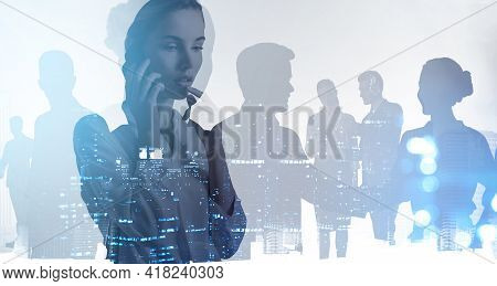 Office Woman Talking On The Phone, Pensive, Silhouettes Of Diverse Business People, Toned Skyscraper