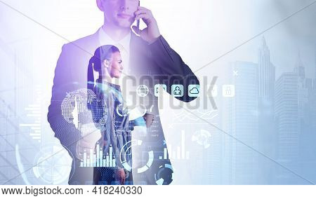 Businessman Call On The Smartphone, Virtual Screen With Stock Market Changes, Business Bar Chart. Li
