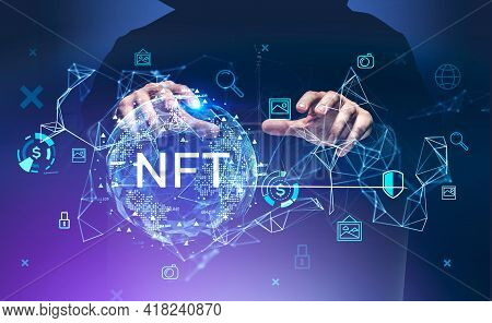 Man Hacker Hands, Non-fungible Token Hologram, Double Exposure, Nft With Earth Globe And Network Ico