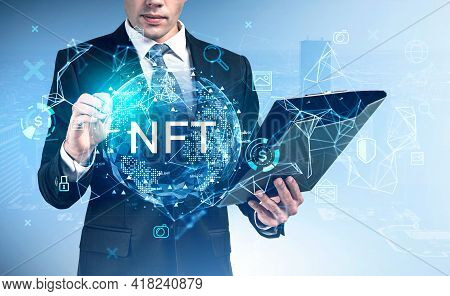 Businessman With Clipboard Pen Touching At Non-fungible Token Hologram, Double Exposure, Nft With Ea