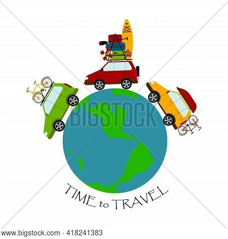 Travel Around The World By Car. Three Cars Are Carrying Necessary Things For The Trip. Long-distance