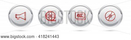 Set Line Megaphone, Film Reel, 4k Ultra Hd And Cd Or Dvd Disk. Silver Circle Button. Vector