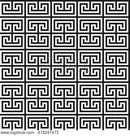 Greek Key Seamless Pattern. Geometric Meander. Abstract Vector Vintage Background