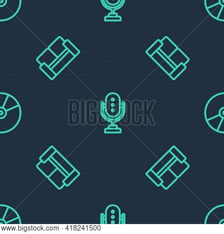 Set Line Microphone, Cinema Chair And Cd Or Dvd Disk On Seamless Pattern. Vector