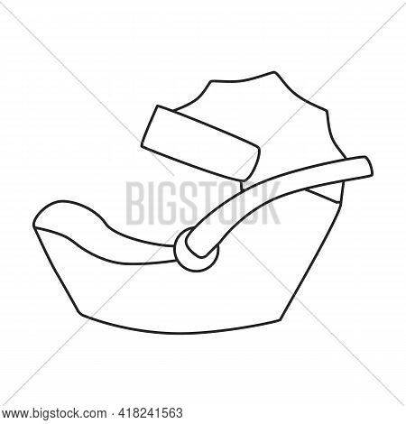 Car Child Seats Vector Outline Icon. Vector Illustration On Baby Seat White Background. Isolated Out