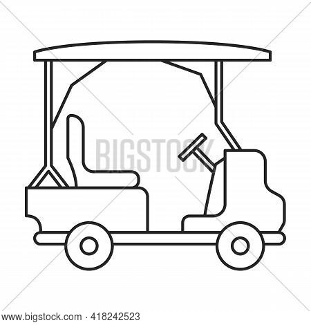 Golf Cart Vector Outline Icon. Vector Illustration Buggy Car On White Background. Isolated Outline I
