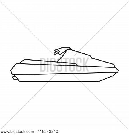 Jet Ski Vector Outline Icon. Vector Illustration Jetski On White Background. Isolated Outline Illust