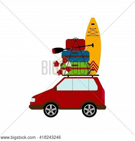 Travelling By Car. Necessary Things For Travel. Suitcases, Lifebuoy And Sup On The Trunk Of The Car.