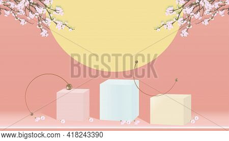 Podium Display With Spring Apple Blossom On Peach Pastel Background,vector 3d Cylinder Stand With Bl
