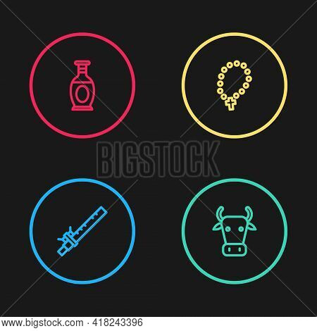 Set Line Bamboo Flute Indian, Cow, Rosary Beads Religion And Indian Vase Icon. Vector