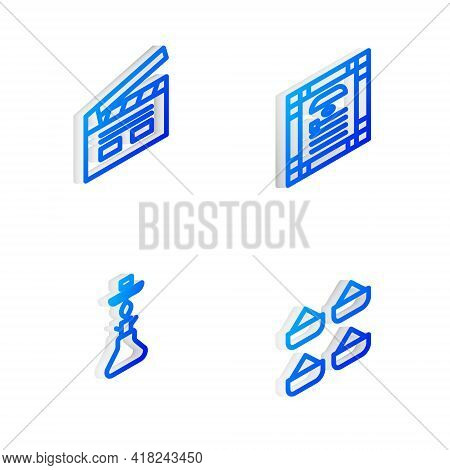 Set Isometric Line India Constitution Day, Bollywood Indian Cinema, Hookah And Indian Icon. Vector
