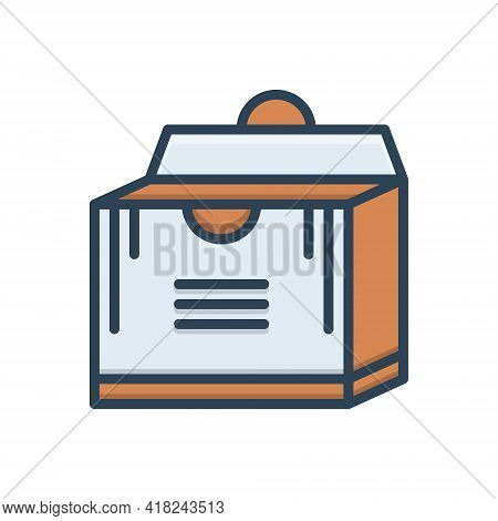 Color Illustration Icon For Pack  Packing Parcel Shipping Store Box